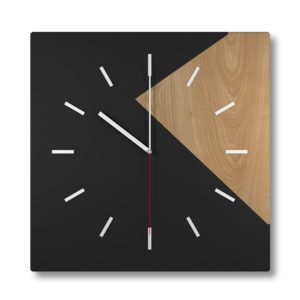 Black Wooden Square Wall Clock