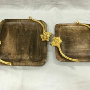 Dark Wooden Tray gold flower